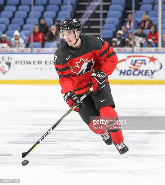 Robert Thomas of Canada skates the puck up ice against Switzerland during the first period of play in the Quarterfinal IIHF World Junior Championship...