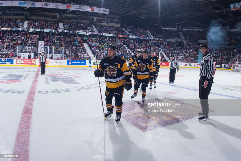 Robert Thomas #27 of Hamilton Bulldogs skates to the bench to celebrate a goal against the Acadie-Bathurst Titan at Brandt Centre - Evraz Place on May 22, 2018 in Regina, Canada.