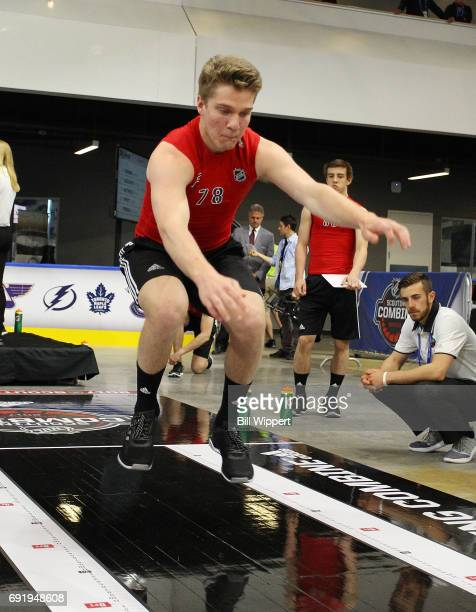 Robert Thomas performs the Long Jump during the NHL Combine at HarborCenter on June 3 2017 in Buffalo New York