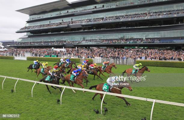 Robert Thompson on After All That wins race 4 during The Everest Day at Royal Randwick Racecourse on October 14 2017 in Sydney Australia