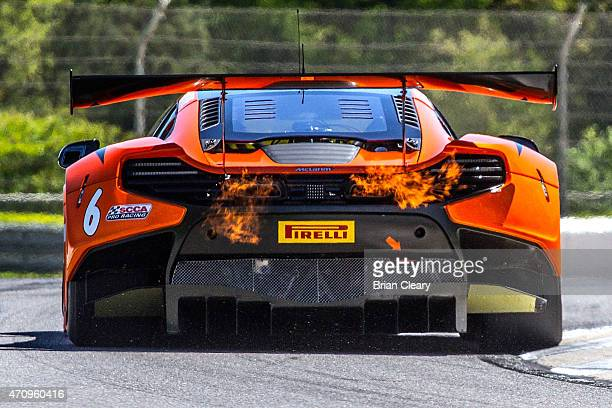 Robert Thorne drives the McLaren 650S GT3 during practice for the Pirelli World Challenge race at Barber Motorsports Park on April 24, 2015 in...
