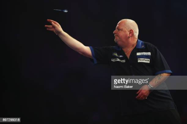 Robert Thornton of Scotland in action during the second round match against Mensur Suljovic of Austria on day nine of the 2018 William Hill PDC World...