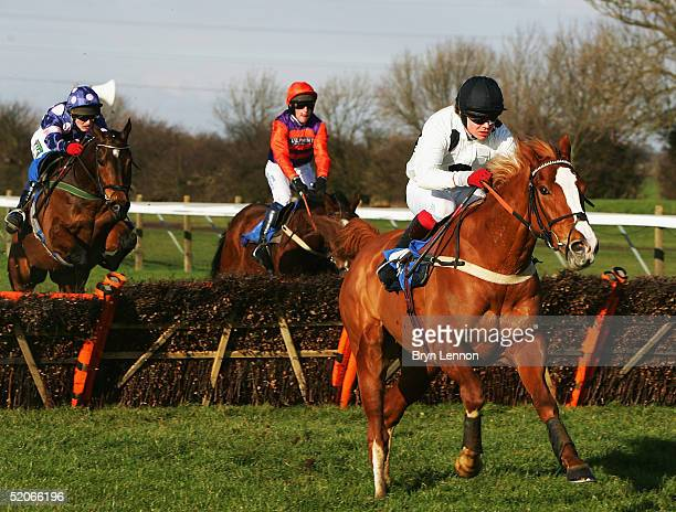 Robert Thornton riding Penzance breaks clear at the last hurdle during the Class E Div II Novices' Handicap Hurdle race at Huntingdon Race Course on...