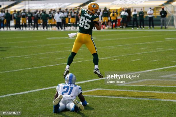 Robert Tonyan of the Green Bay Packers catches a pass for a touchdown during the second quarter against the Detroit Lions at Lambeau Field on...