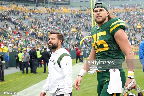 Robert Tonyan of the Green Bay Packers leaves the field following a game against the Washington Football Team at Lambeau Field on October 24, 2021 in...