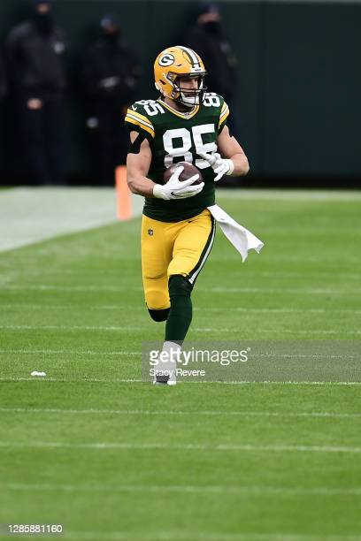 Robert Tonyan of the Green Bay Packers runs for yards during a game against the Jacksonville Jaguars at Lambeau Field on November 15, 2020 in Green...