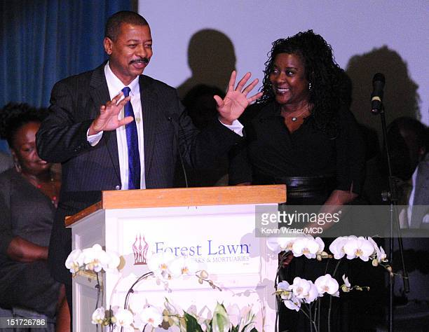 Robert Townsend and Loretta Devine speak onstage during Michael Clarke Duncan's Memorial Service at Forest Lawn Cemetery on September 10, 2012 in Los...