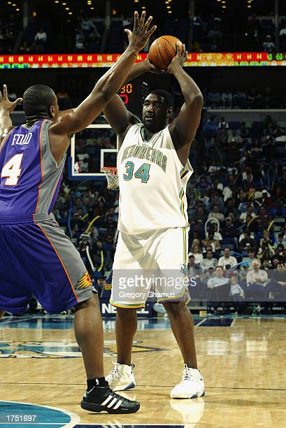 Robert Traylor of the New Orleans Hornets looks to pass against Alton Ford of the Phoenix Suns during the game at New Orleans Arena on January 20...