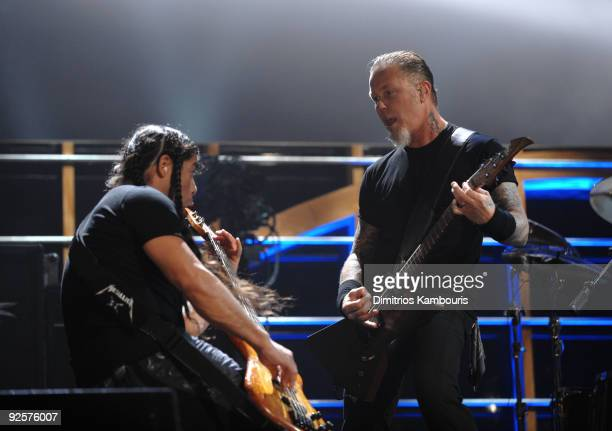 Robert Trujillo and James Hetfield of Metallica perform onstage at the 25th Anniversary Rock Roll Hall of Fame Concert at Madison Square Garden on...