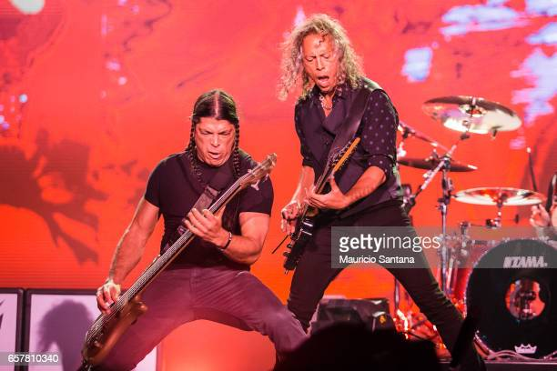 Robert Trujillo and Kirk Hammett of the band Metallica perform live on stage at Autodromo de Interlagos on March 25 2017 in Sao Paulo Brazil