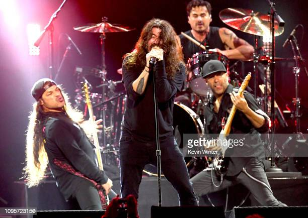 Robert Trujillo Dave Grohl Brad Wilk and Tom Morello performs at I Am The Highway A Tribute to Chris Cornell at the Forum on January 16 2019 in...