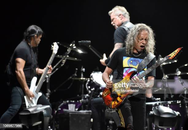 "Robert Trujillo, James Hetfield, and Kirk Hammett of Metallica perform during the band's ""Worldwired Tour"" at Golden 1 Center on December 7, 2018 in..."