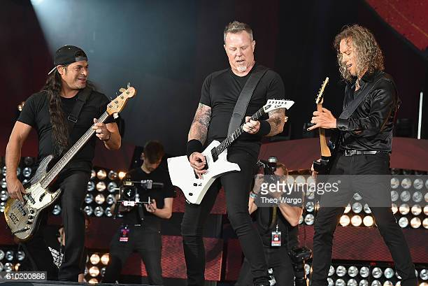 Robert Trujillo James Hetfield and Kirk Hammett of Metallica perform onstage at the 2016 Global Citizen Festival In Central Park To End Extreme...