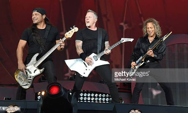 Robert Trujillo James Hetfield and Kirk Hammett of Metallica perform onstage at the 2016 Global Citizen Festival to End Extreme Poverty by 2030 at...