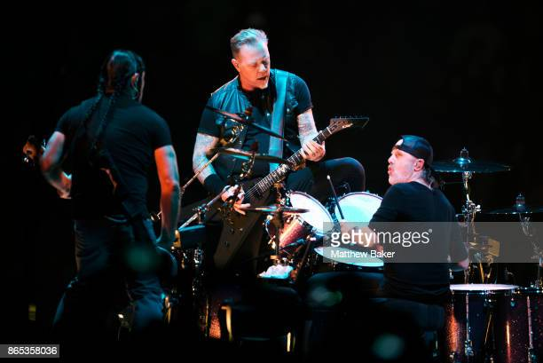 Robert Trujillo James Hetfield and Lars Ulrich of Metallica perform live on stage at The O2 Arena on October 22 2017 in London England