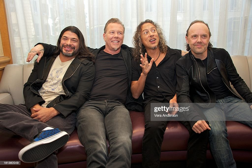 Robert Trujillo, James Hetfield, Kirk Hammett and Lars Ulrich at the 'Metallica: Through The Never' Press Conference at the Fairmont Hotel on September 17, 2013 in San Francisco, California.