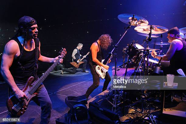 Robert Trujillo James Hetfield Kirk Hammett and Lars Ulrich of Metallica perform at Singapore Indoor Stadium on January 22 2017 in Singapore Singapore