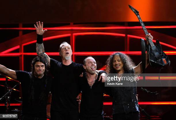 Robert Trujillo James Hetfield Lars Ulrich and Kirk Hammett of Metallica perform onstage at the 25th Anniversary Rock Roll Hall of Fame Concert at...