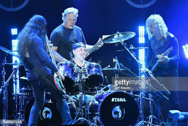Robert Trujillo James Hetfield Lars Ulrich and Kirk Hammett of Metallica perform onstage during I Am the Highway A Tribute to Chris Cornell on...