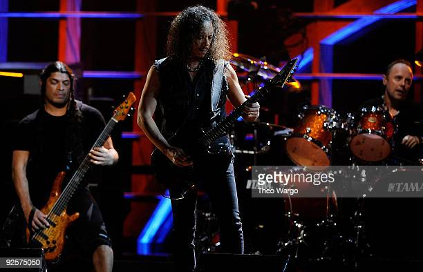 Robert Trujillo Kirk Hammett and Lars Ulrich of Metallica perform onstage at the 25th Anniversary Rock Roll Hall of Fame Concert at Madison Square...