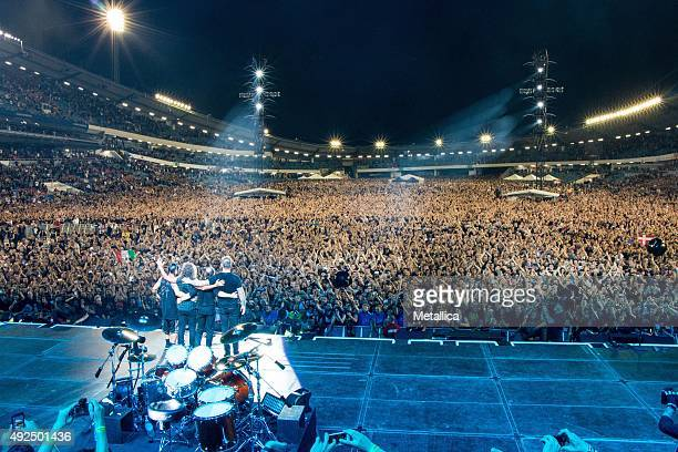 Robert Trujillo Kirk Hammett Lars Ulrich and James Hetfield of Metallica at Ullevi Stadium on August 22 2015 in Gothenburg Sweden