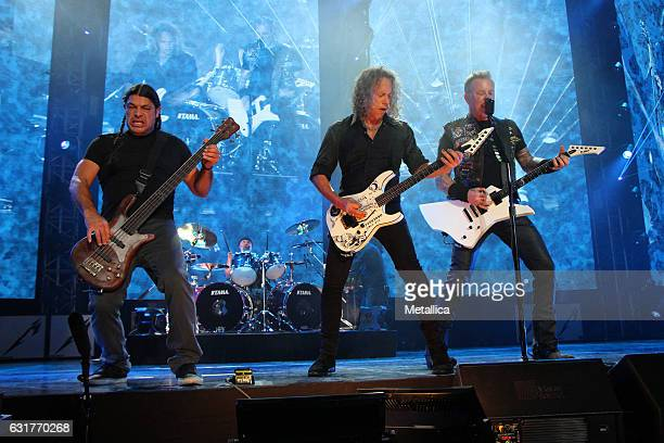 Robert Trujillo Lars Ulrich Kirk Hammett and James Hetfield of Metallica perform at MercedesBenz Arena on January 15 2017 in Shanghai China