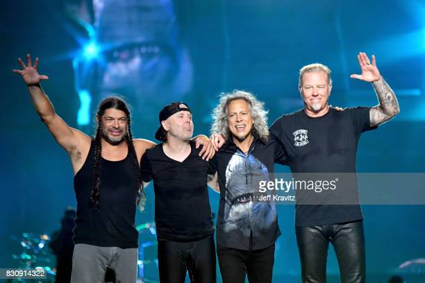 Robert Trujillo, Lars Ulrich, Kirk Hammett, and James Hetfield of Metallica perform on Lands End stage during the 2017 Outside Lands Music And Arts...