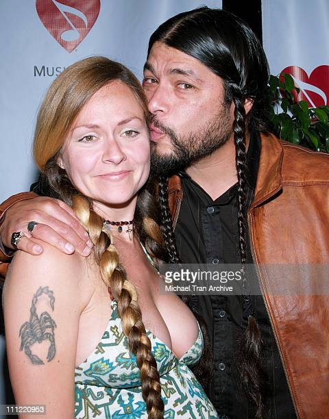 Robert Trujillo of Metallica and his wife during 2nd Annual MusiCares MAP Fund Benefit Concert Honoring James Hetfield and Bill Silva at Henry Fonda...