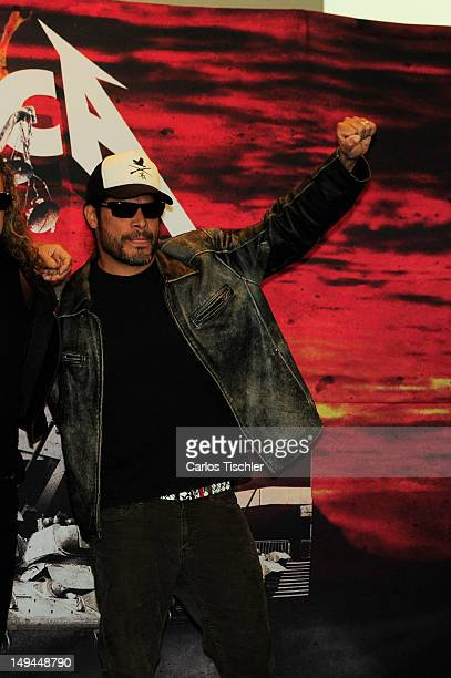 """Robert Trujillo of Metallica greets the audience in the press conference """"Metallica the full arsenal"""" during the world tour to mark the celebration..."""