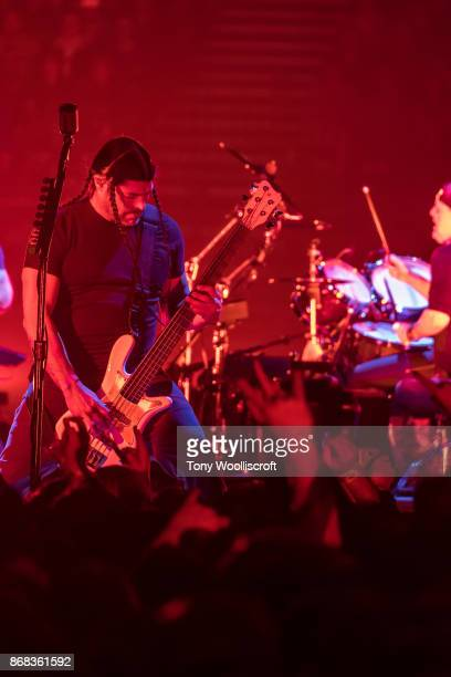 Robert Trujillo of Metallica perform live on stage at the Genting Arena on October 30 2017 in Birmingham England