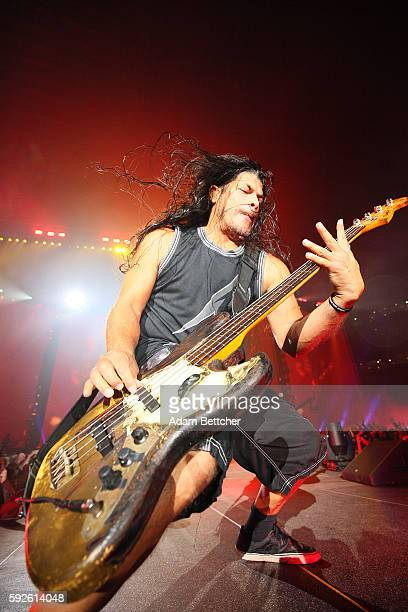 Robert Trujillo of Metallica performs at US Bank Stadium on August 20 2016 in Minneapolis Minnesota