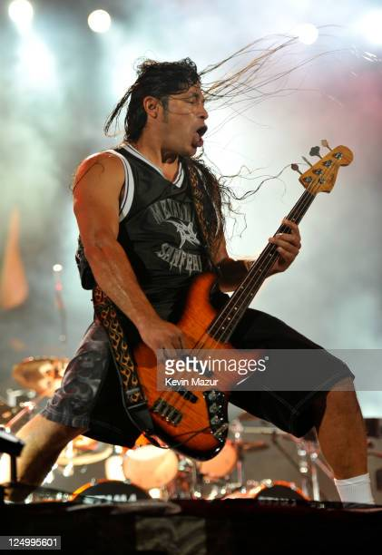 Robert Trujillo of Metallica performs at Yankee Stadium on September 14 2011 in New York City