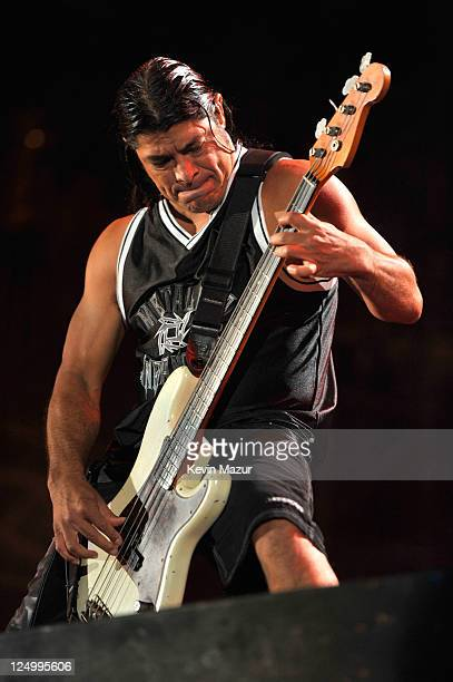 Robert Trujillo of Metallica performs at Yankee Stadium on September 14 2011 in New York City