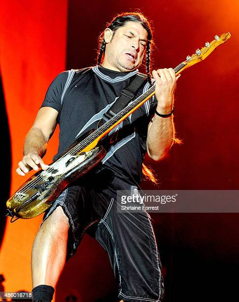 Robert Trujillo of Metallica performs headlining the main stage on day 3 of The Leeds Festival at Bramham Park on August 30 2015 in Leeds England