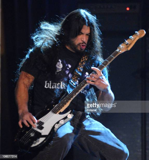 Robert Trujillo of Metallica performs Hole in the Sky during the Black Sabbath induction