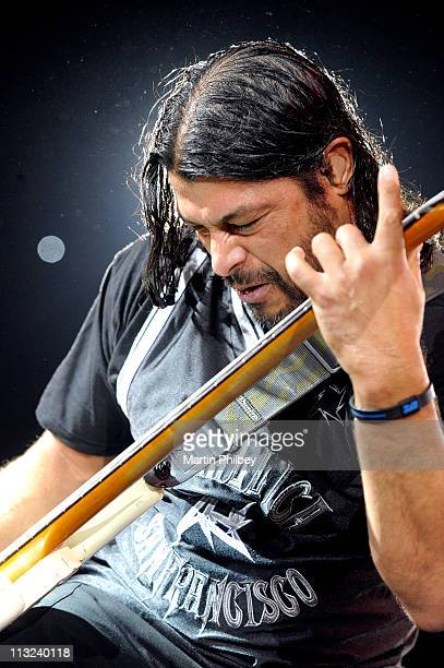 Robert Trujillo of Metallica performs on stage at the Rod Laver Arena on 15th September 2010 in Melbourne Australia