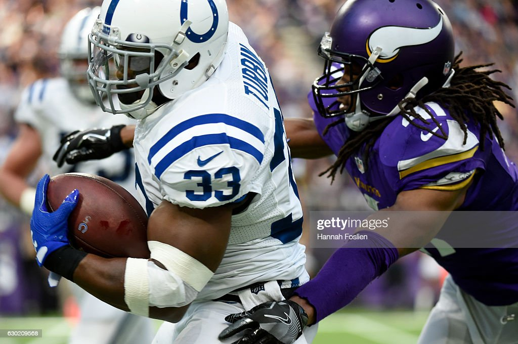 Robert Turbin #33 of the Indianapolis Colts carries the ball in the first half of the game against the Minnesota Vikings on December 18, 2016 at US Bank Stadium in Minneapolis, Minnesota.