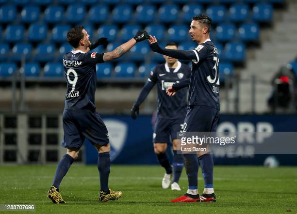 Robert Žulj of Bochum celebrate with team mate Simon Zoller after scores his team's 4th goal during the Second Bundesliga match between VfL Bochum...