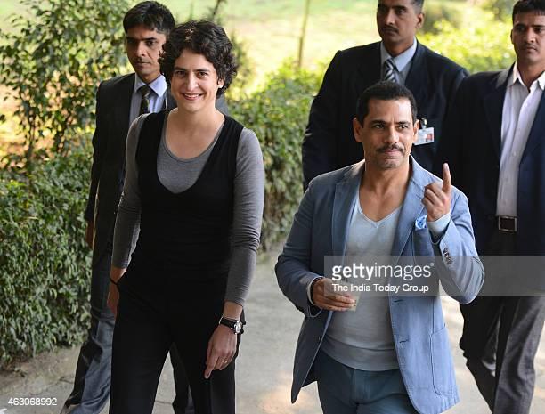 Robert Vadra and Priyanka Gandhi after casting the vote in New Delhi