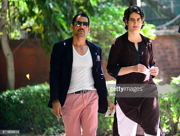 Robert Vadra with his wife Priyanka Gandhi going to cast the vote for general election of the 16th Lok Sabha 2014 on April 10 2014 in New Delhi India
