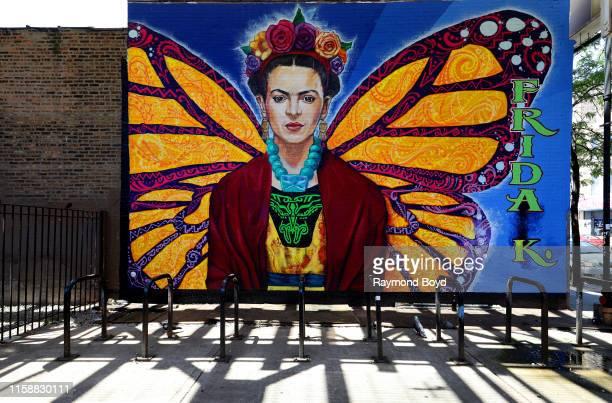 Robert Valadez' 'Frida Kahlo' mural is displayed in the Pilsen neighborhood in Chicago, Illinois on June 25, 2019. MANDATORY MENTION OF THE ARTIST...