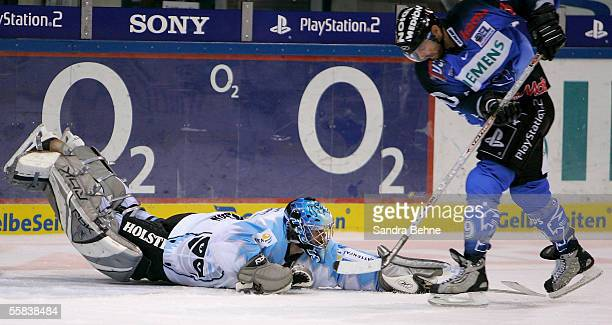 Robert Valicevic of Ingolstadt tries to score against Boris Rousson of Freezers during the DEL match between ERC Ingolstadt and Hamburg Freezers at...