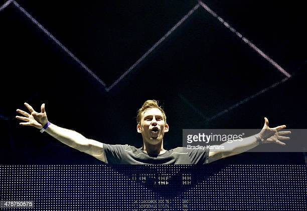 Robert van de Corput better known as Hardwell performs live for fans as part of the 2014 Future Music Festival at RNA Showgrounds on March 1 2014 in...
