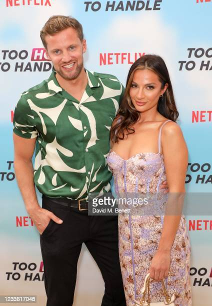 """Robert Van Tromp and Christina Carmela attend a special screening of Netflix's """"Too Hot To Handle"""" Season 2 at the Fulham Beach Bar on June 23, 2021..."""