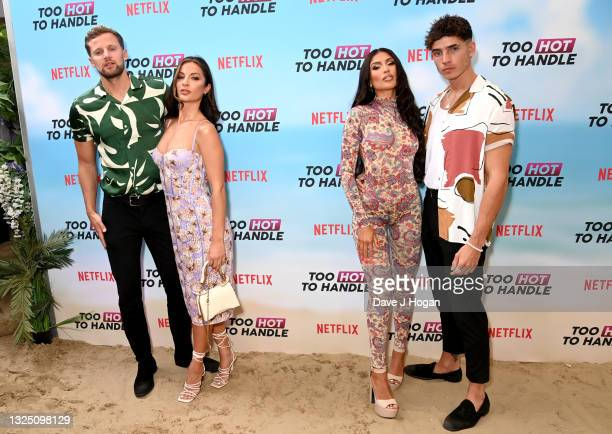 """Robert Van Tromp, Christina Carmela, Emily Miller and Cam Holmes attend the """"Too Hot To Handle"""" Season 2 Special Screening photocall at Fulham Beach..."""