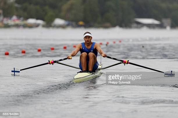 Robert Ven of Finland competes in the Men's Single Sculls semifinal during Day 2 of the 2016 FISA European And Final Olympic Qualification Regatta at...