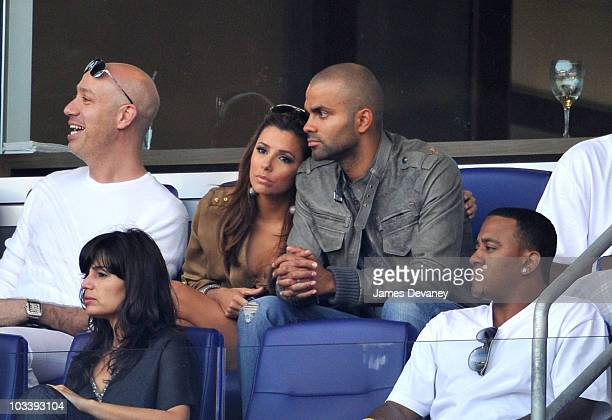 Robert Verdi Eva Longoria Parker and Tony Parker attend the Los Angeles Galaxy vs New York Red Bulls game at Red Bull Arena on August 14 2010 in...