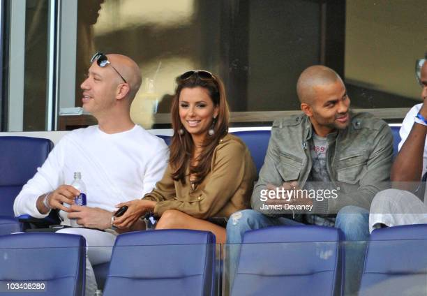 Robert Verdi, Eva Longoria Parker and Tony Parker attend the Los Angeles Galaxy vs. New York Red Bulls game at Red Bull Arena on August 14, 2010 in...