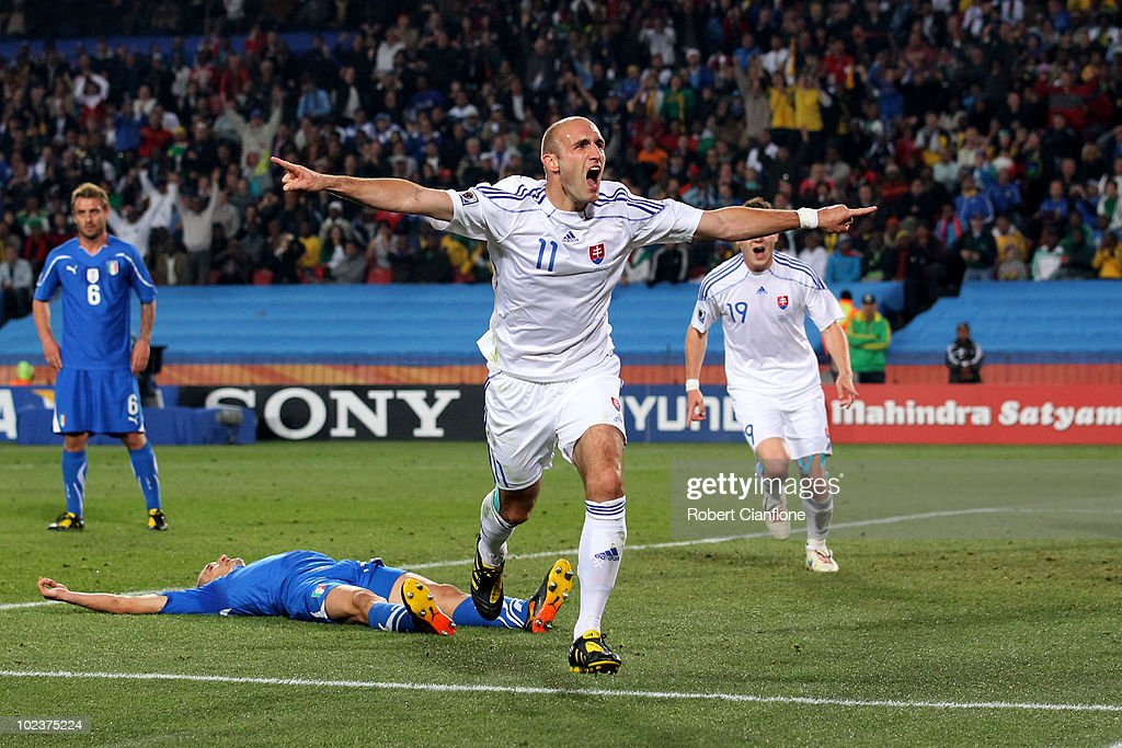 Robert Vittek of Slovakia celebrates scoring the second goal during the 2010 FIFA World Cup South Africa Group F match between Slovakia and Italy at Ellis Park Stadium on June 24, 2010 in Johannesburg, South Africa.