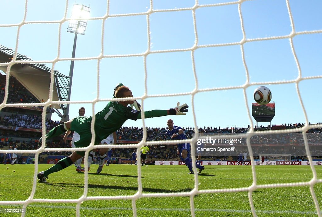 Robert Vittek of Slovakia's header goes into the net past Mark Paston of New Zealand during the 2010 FIFA World Cup South Africa Group F match between New Zealand and Slovakia at the Royal Bafokeng Stadium on June 15, 2010 in Rustenburg, South Africa.